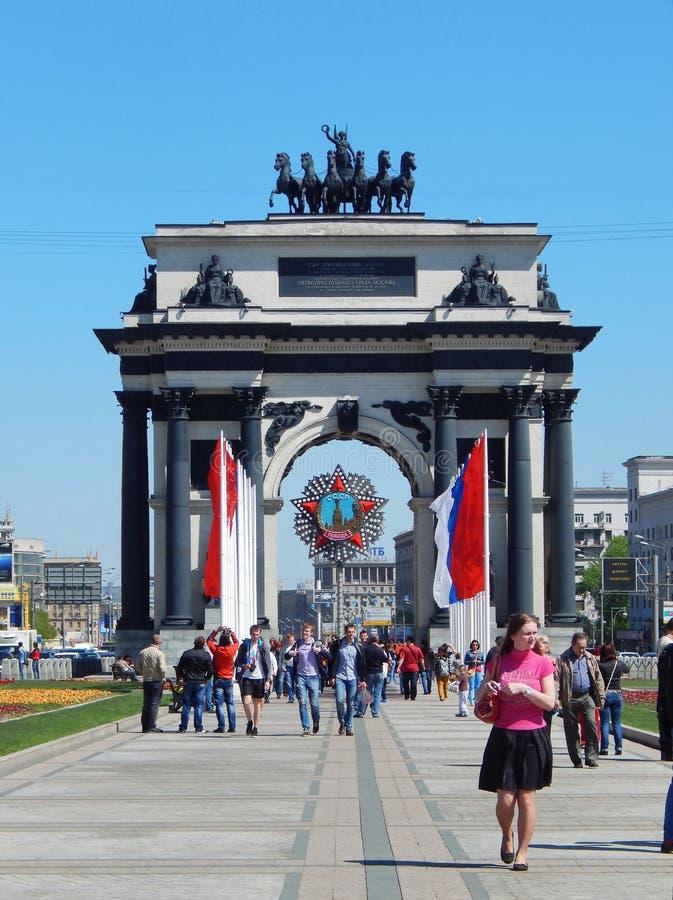 Triomfantelijke boog, Moskou Victory Day, negende van Mei, 2014 royalty-vrije stock afbeelding