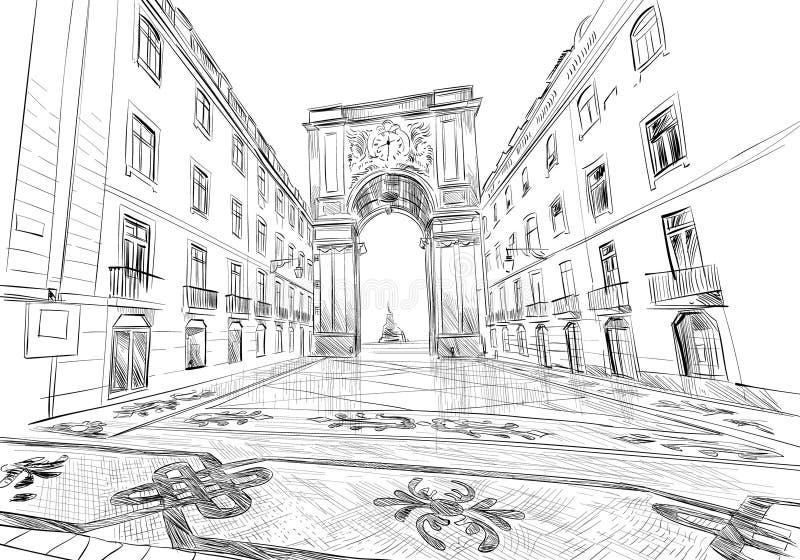 Triomfantelijke Boog op Rua Augusta Prasà ¡ doet Comercio lissabon portugal europa Hand getrokken vectorillustratie royalty-vrije illustratie