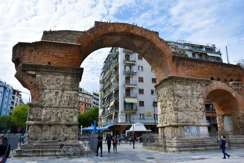 Triomfantelijke boog van Galerius - Thessaloniki stock afbeeldingen