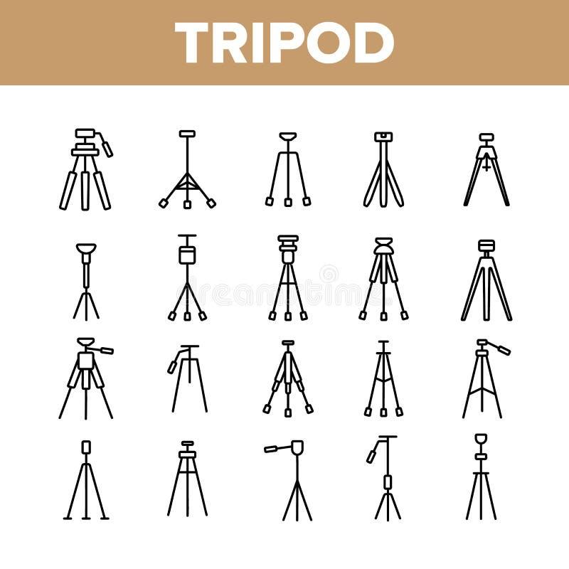 Tripé, grupo dos ícones de Equipment Vetora Linear do operador cinematográfico ilustração do vetor