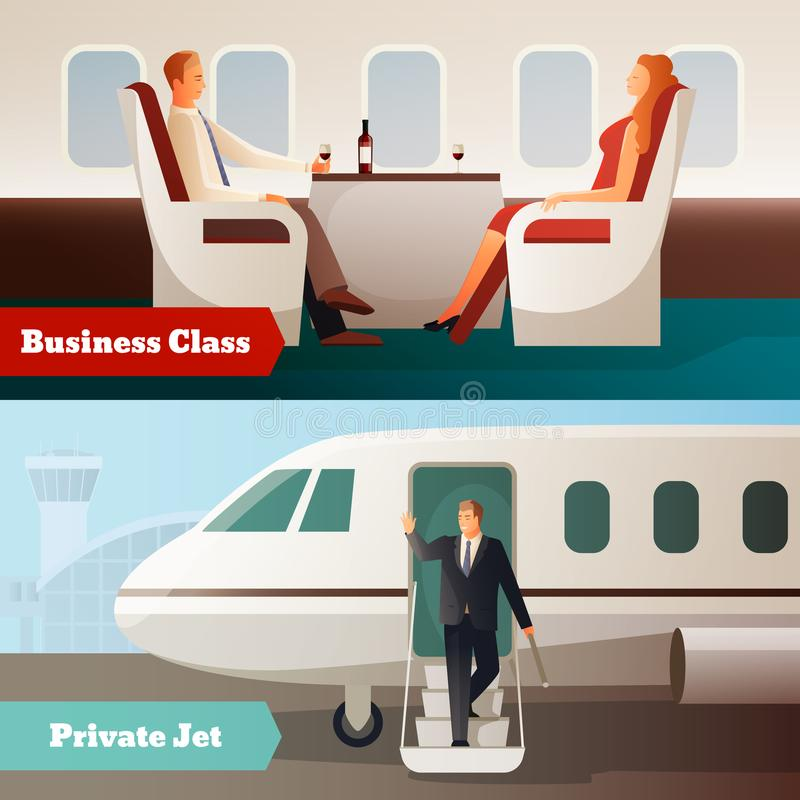Trip On Airplane Horizontal Banners royalty free illustration