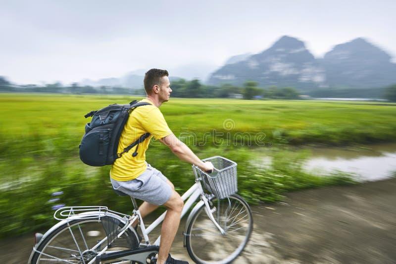 Trip by bike in Vietnam stock image