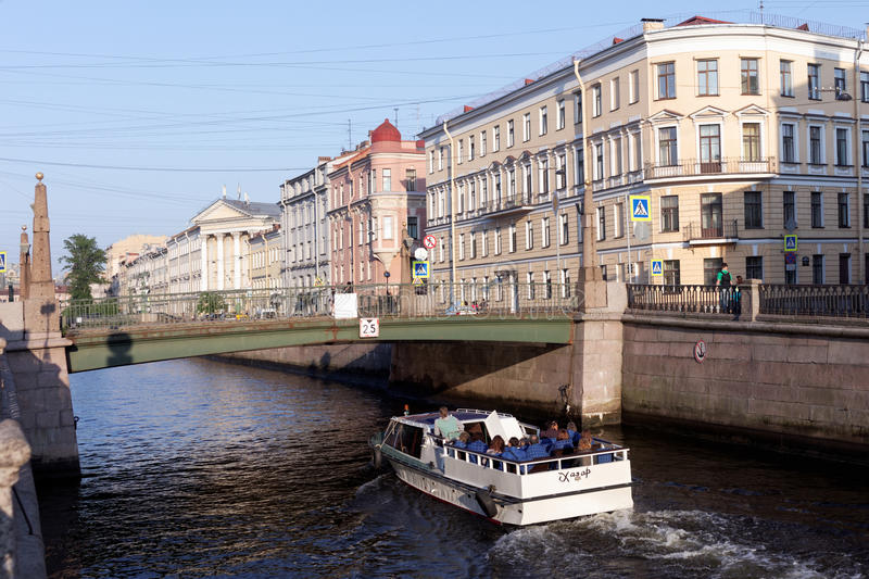Trip boat in St. Petersburg, Russia stock photos