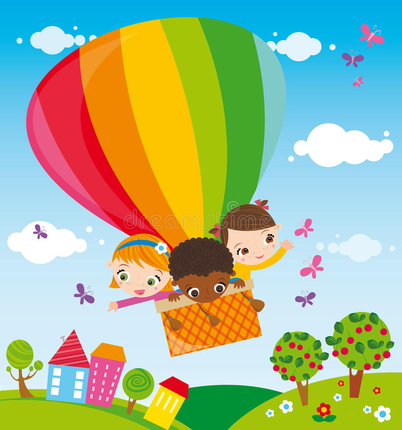 Trip with hot air balloon royalty free illustration