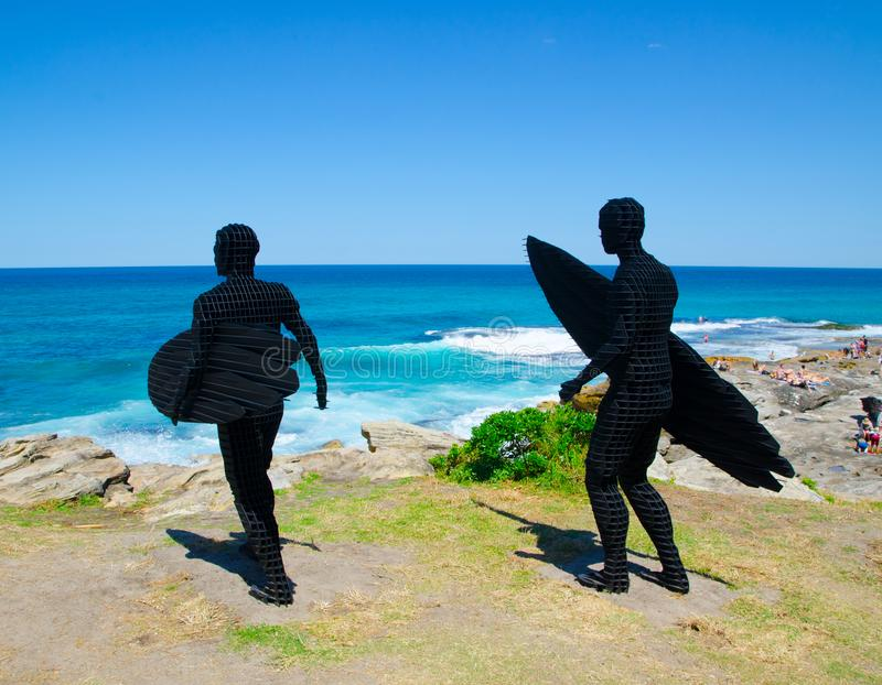 ` Trip I, Trip II ` is a sculptural artwork by April Pine at the Sculpture by the Sea annual events free to the public sculpture. SYDNEY, AUSTRALIA. – On stock images