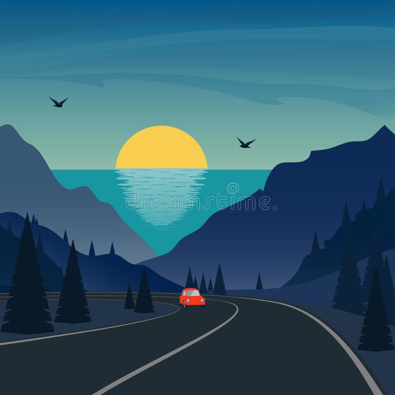Trip in mountains. Cute small car rides on mountain road. Sea and sunset or sunrise on background. Vector illustration. stock illustration