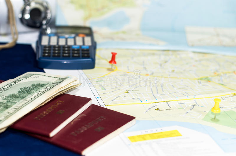 Trip planning still life royalty free stock photography