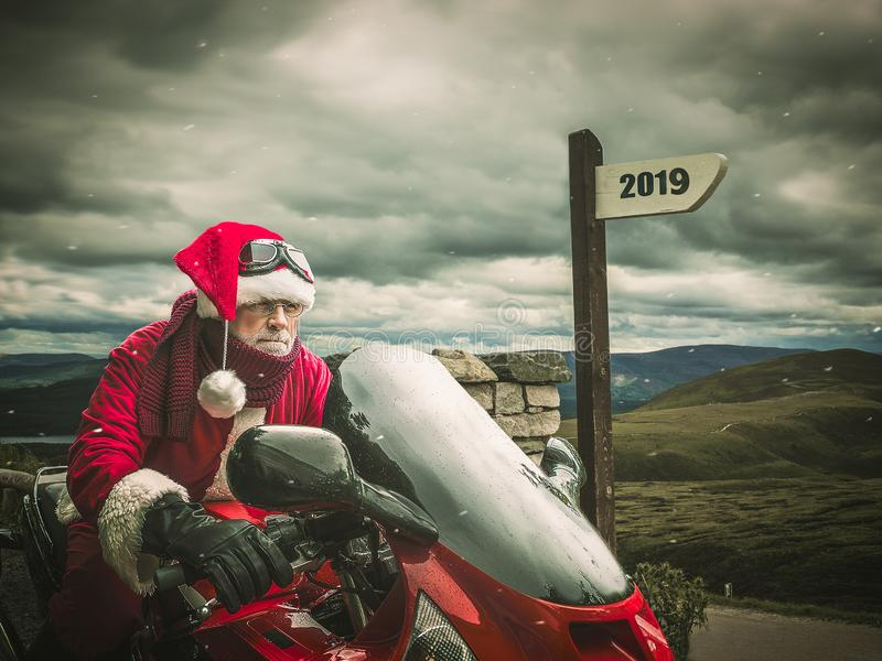 Trip of Santa Claus in 2019 on a hevy motorcycle. Active lifestyle concept stock image
