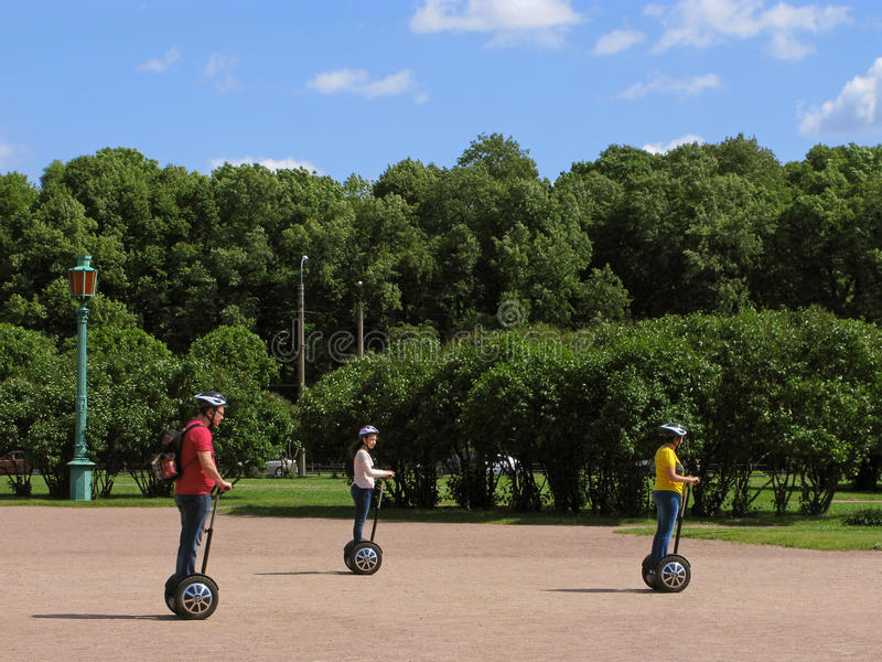 Trip on segway in park stock photography