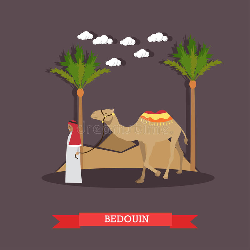 Trip to Egypt, arab bedouin concept vector flat illustration. Vector illustration of arab bedouin wearing traditional clothing and camel. Trip to Egypt concept stock illustration
