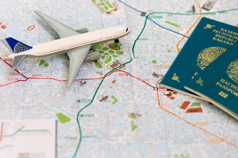 Trip To Italia Passport Plane And Map Of Milan Stock Photo Image