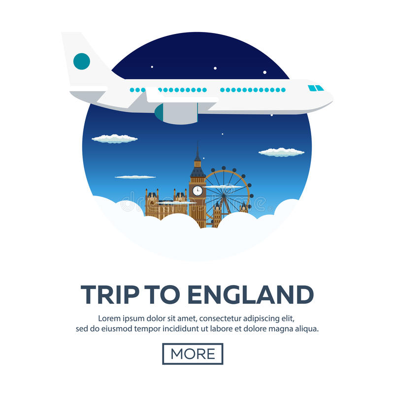 Trip to London. Tourism. Travelling illustration. Modern flat design. Travel by airplane, vacation, adventure, trip. royalty free illustration