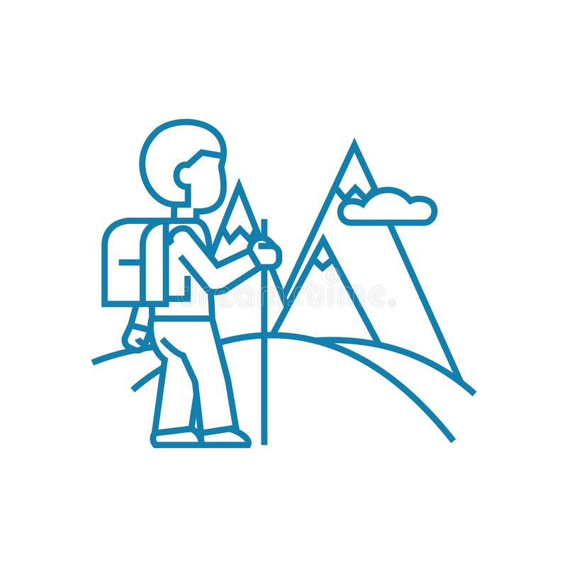 Trip to the mountains linear icon concept. Trip to the mountains line vector sign, symbol, illustration. vector illustration