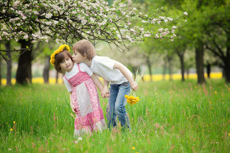 Trip to the rocks. Two young children kissing in flowery meadow of long grass, girl wearing daisy flower crown stock photography