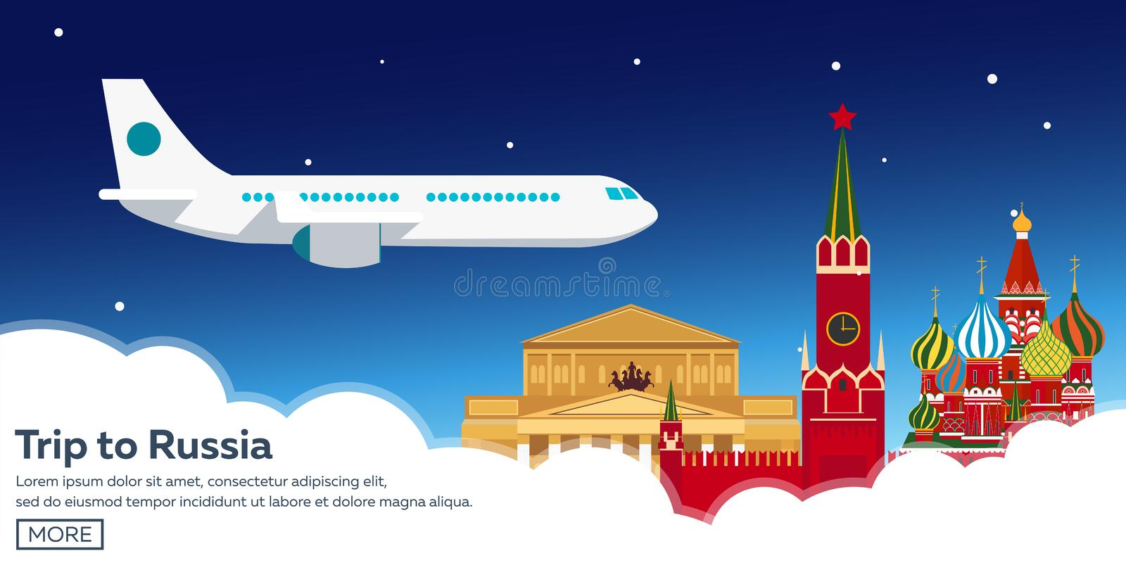 Trip to Russia, Moscow. Tourism. Travelling illustration. Modern flat design. Travel by airplane, vacation, adventure, trip. vector illustration