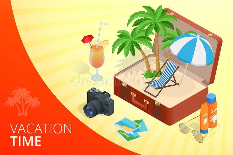Trip to Summer holidays. Travel to Summer holidays. Vacation. Road trip. Tourism. Travel banner. Open suitcase with royalty free illustration