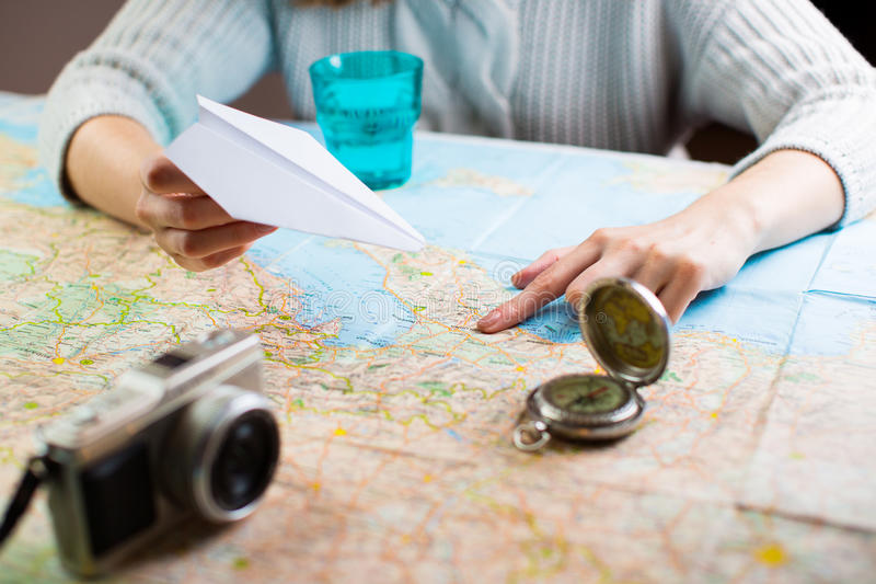 Trip travel planning map stock images