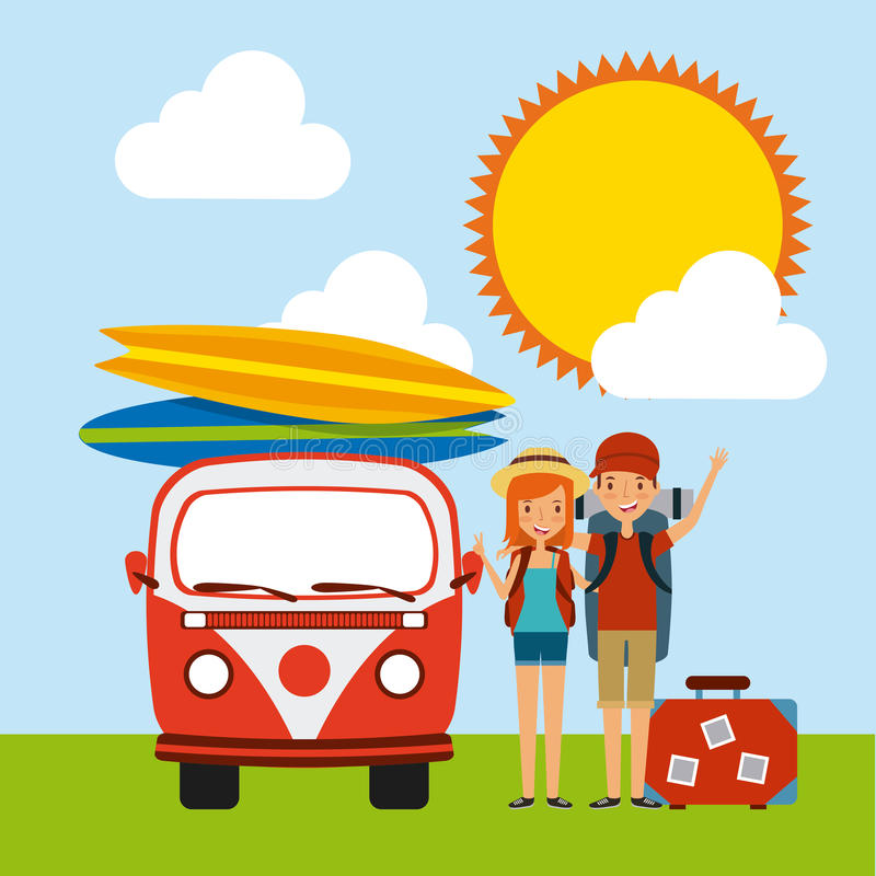 Trip and vacations design. Happy young couple cartoon icon over landscape background. trip and vacations concept. colorful design. illustration royalty free illustration