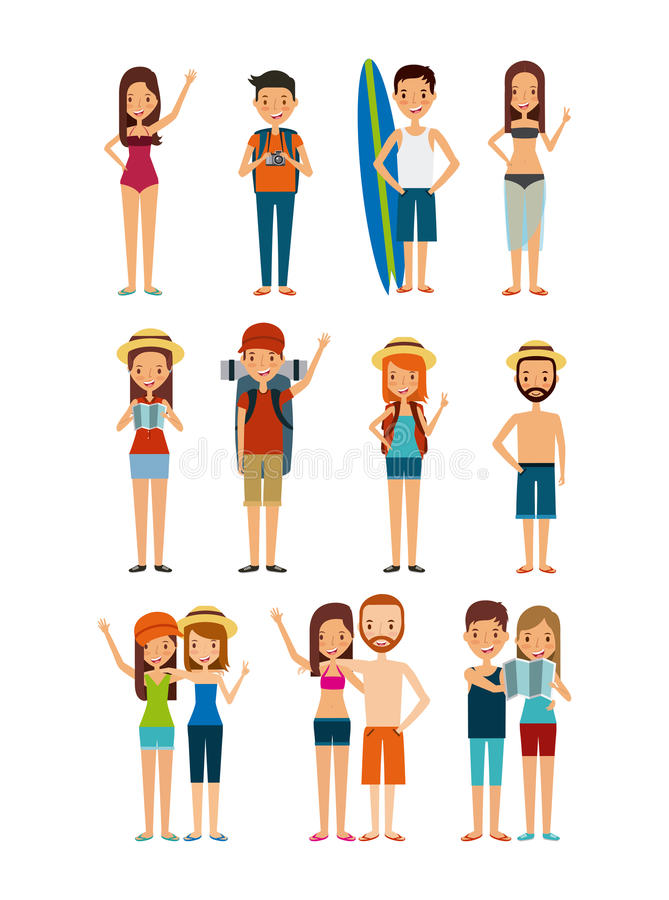 Trip and vacations design. People cartoon icon set over white background. trip and vacations concept. colorful design. illustration vector illustration
