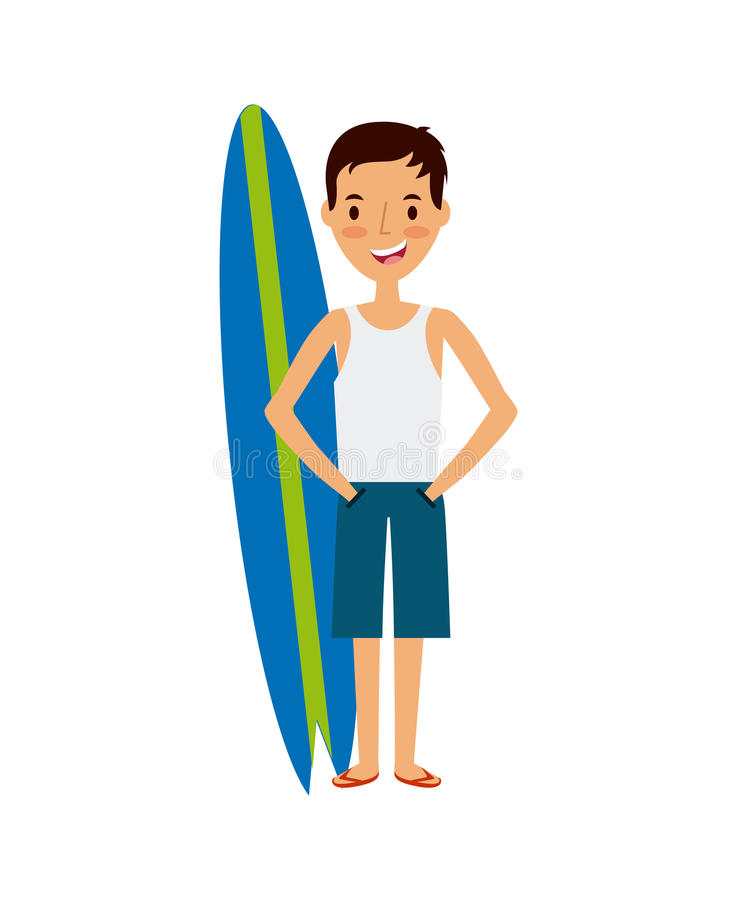 Trip and vacations design. Surfboard and happy man cartoon icon over white background. trip and vacations concept. colorful design. illustration stock illustration