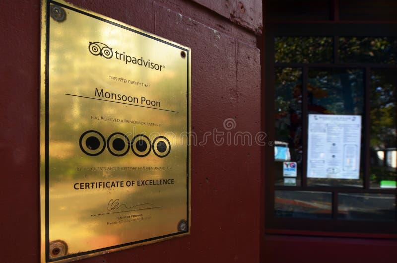 Tripadvisor certifikat av utmärkthet arkivbild