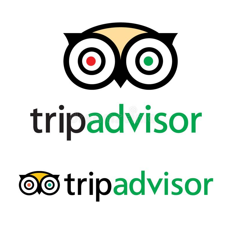Tripadvisor logo icon vector - popular service with rating of hotels and attractions for travel. vector illustration