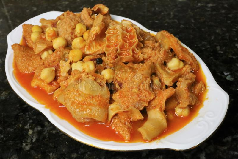 Tripe with chickpeas Andalusian and Spanish cuisine. Tripe with chickpeas. A recipe for cooking Andalusian and Spanish cuisine stock photos