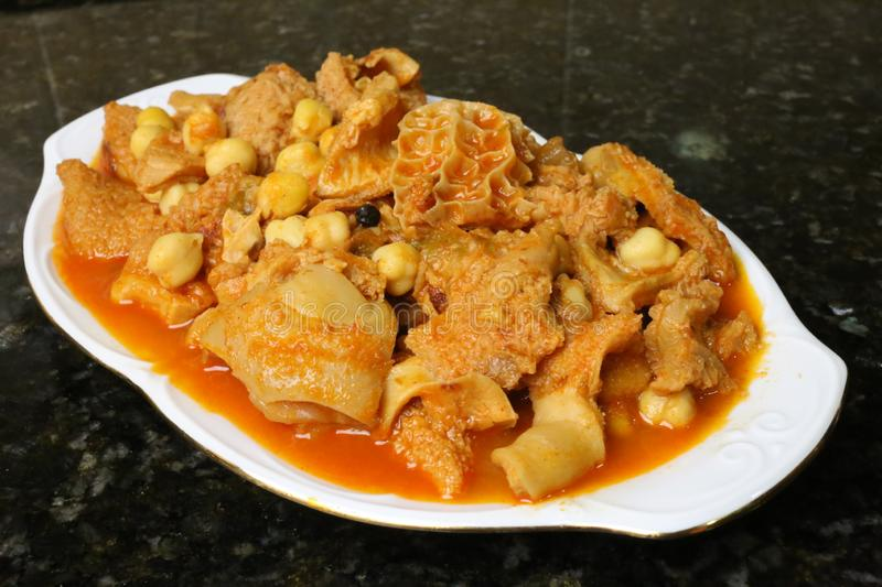 Tripe with chickpeas Andalusian and Spanish cuisine. Tripe with chickpeas. A recipe for cooking Andalusian and Spanish cuisine royalty free stock images