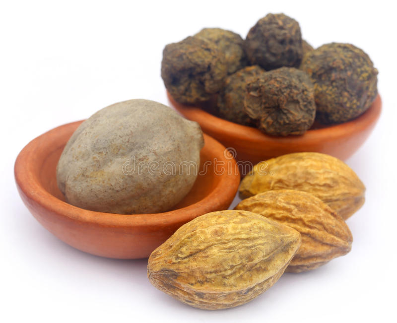 Triphala. A combination of ayurvedic fruits, of Indian subcontinent stock photo