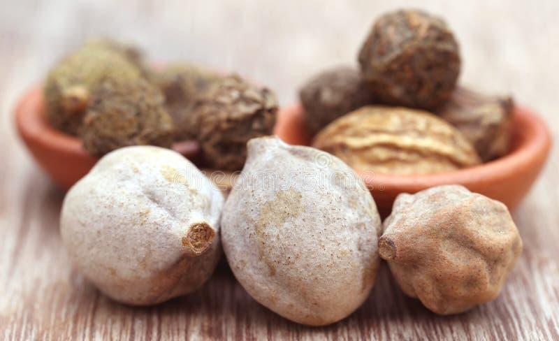 Triphala, eine Kombination von ayurvedic Früchten lizenzfreie stockfotos