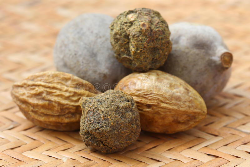 Triphala, eine Kombination von ayurvedic Früchten stockbild