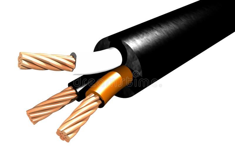 Triphasic缆绳- 3D 向量例证