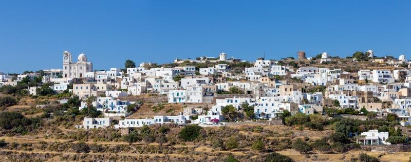 Tripiti村庄,芦粟海岛,基克拉泽斯,希腊全景  免版税图库摄影