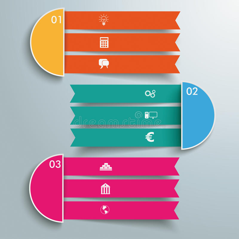 3 Triple Banners vector illustration