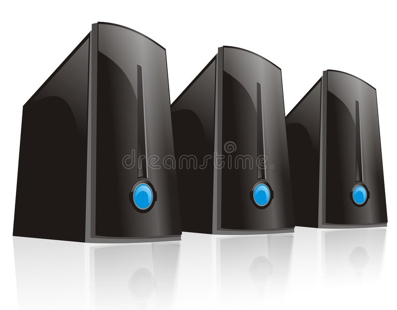 Triple black server computer. Cool triple black server computer with big blue lamp isolated with white background stock illustration