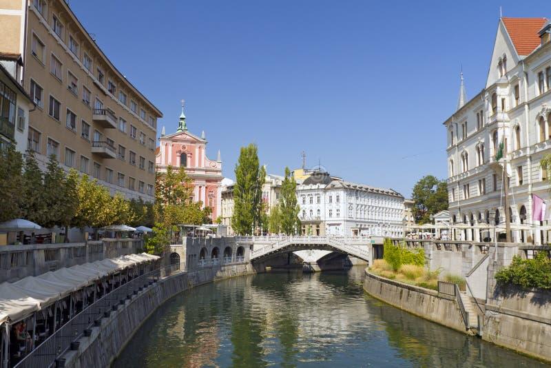 Triple Bridge, Ljubljana, Slovenia. The Franciscan Church of the Annunciation, Triple Bridge, Ljubljana, Slovenia stock photo