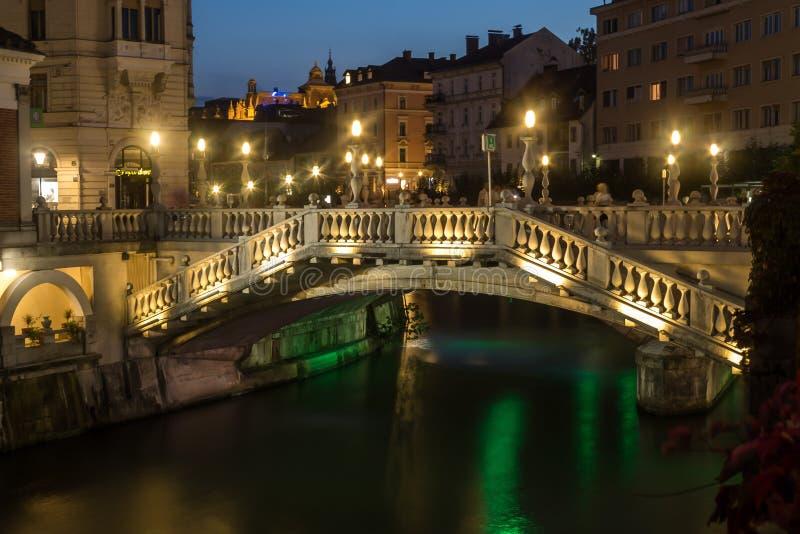 Triple bridge in Ljubljana (Slovenia) royalty free stock image