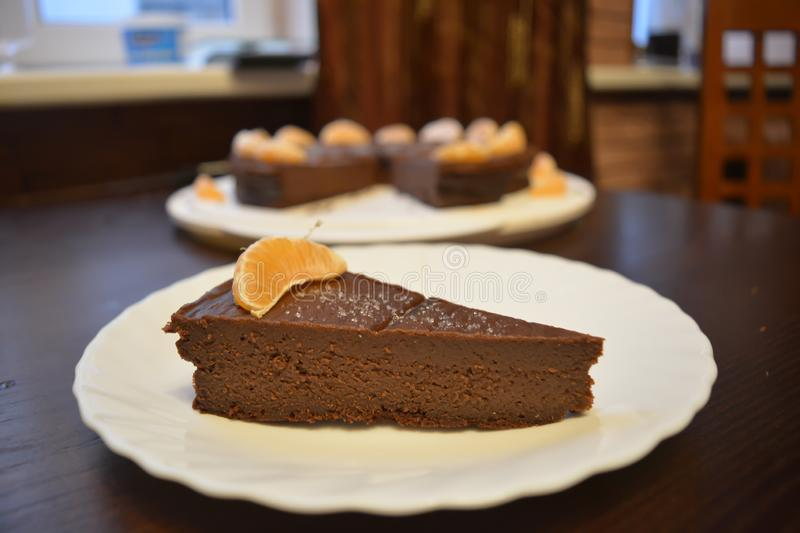 Triple chocolate cake with orange liquer flavour. Special gourmet dessert for chocolate lovers. stock images
