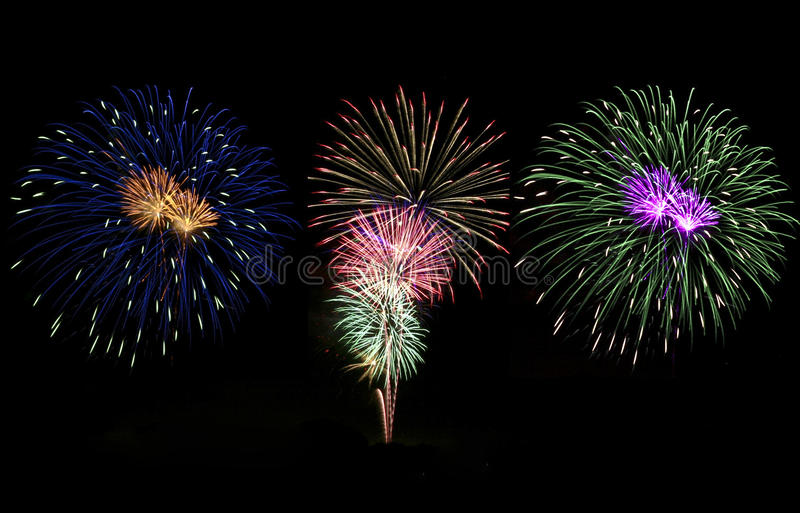 Download Triple Fireworks stock image. Image of three, white, yellow - 16943581