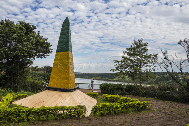 Triple Frontier Mark - Brazil, Argentina, Paraguay royalty free stock photo