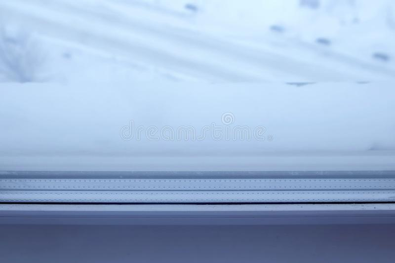 Triple glazing plastic window. Close up view. Triple glazing plastic window. Close-up view royalty free stock images