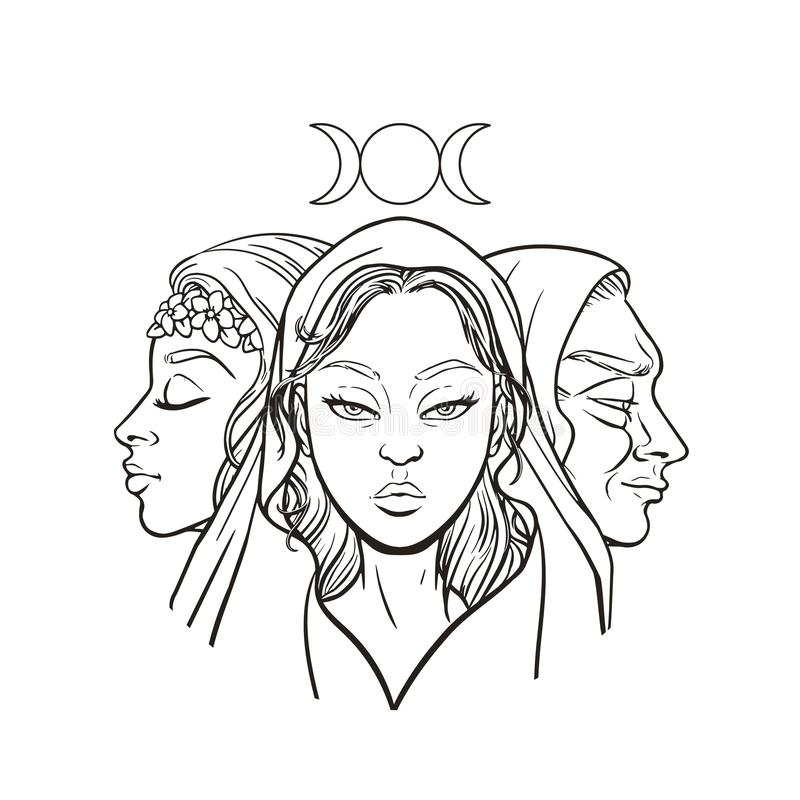 Free Triple Goddess As Maiden, Mother And Crone, Beautiful Woman, Symbol Of Moon Phases. Hekate, Mythology, Wicca, Witchcraft. Vector Royalty Free Stock Images - 151099199