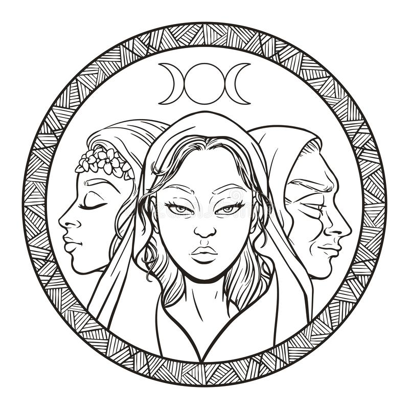 Free Triple Goddess As Maiden, Mother And Crone, Beautiful Woman, Symbol Of Moon Phases. Hekate, Mythology, Wicca, Witchcraft. Vector Royalty Free Stock Photography - 155117577