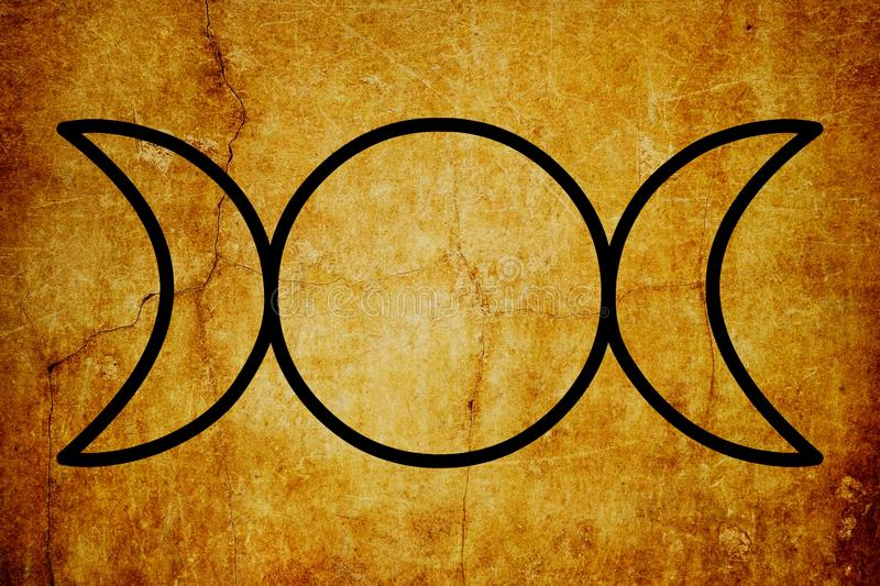 The Triple Goddess Symbol Magic Symbols Vintage background. This symbol represents the Maiden, Mother, and Crone as the waxing, full, and waning moon royalty free illustration
