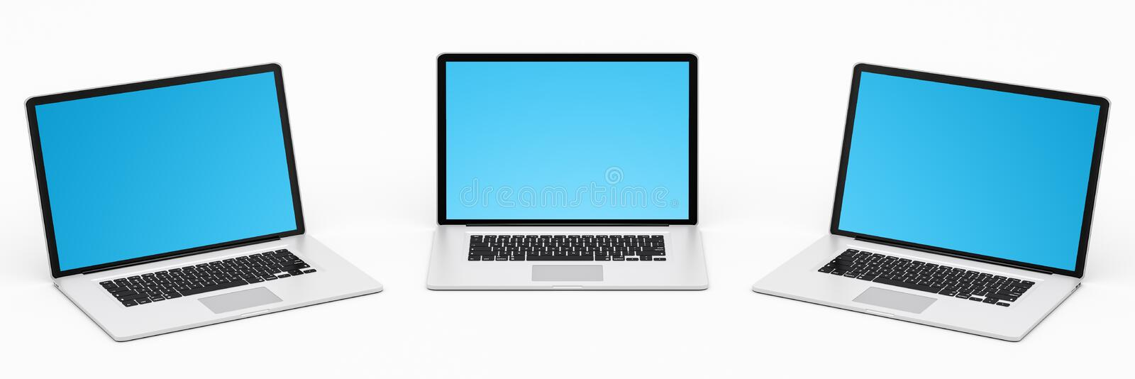 Triple modern digital silver and black laptop 3D rendering royalty free illustration