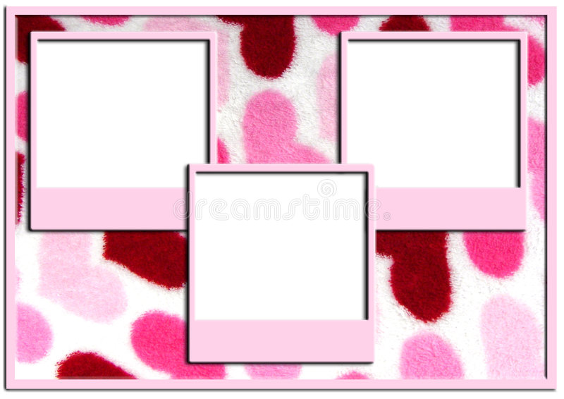 Triple picture frames on heart background royalty free stock photo