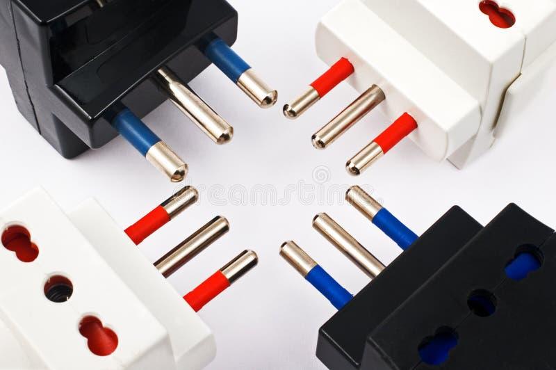 Triple plugs stock photography