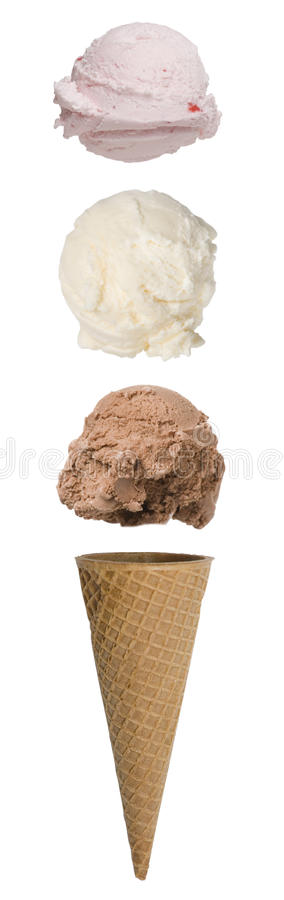 Triple Scoop Ice Cream Cone. With scoops floating above cone stock photos