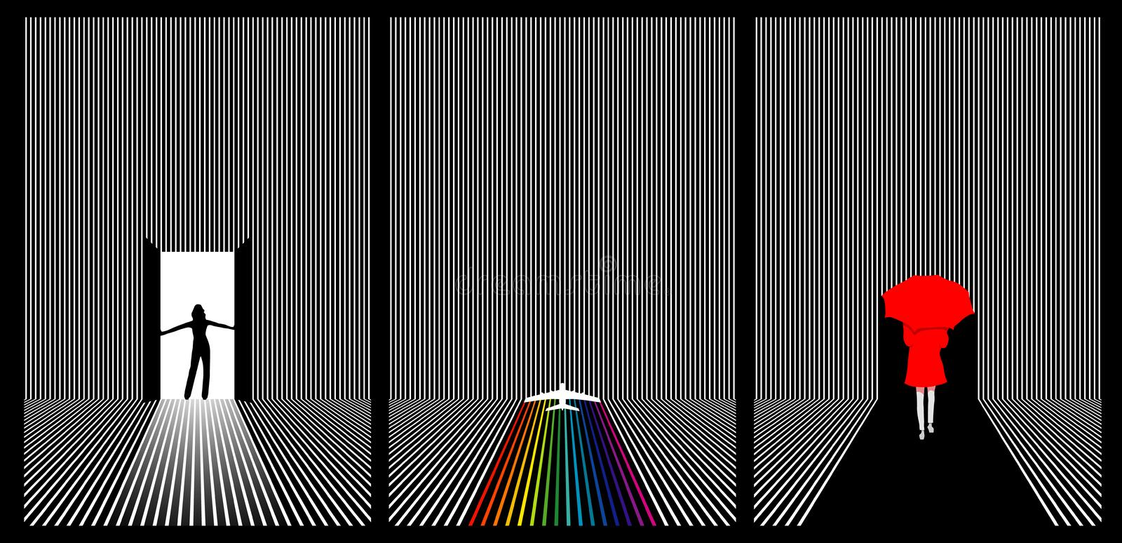 Triple set of vector line art stock illustration