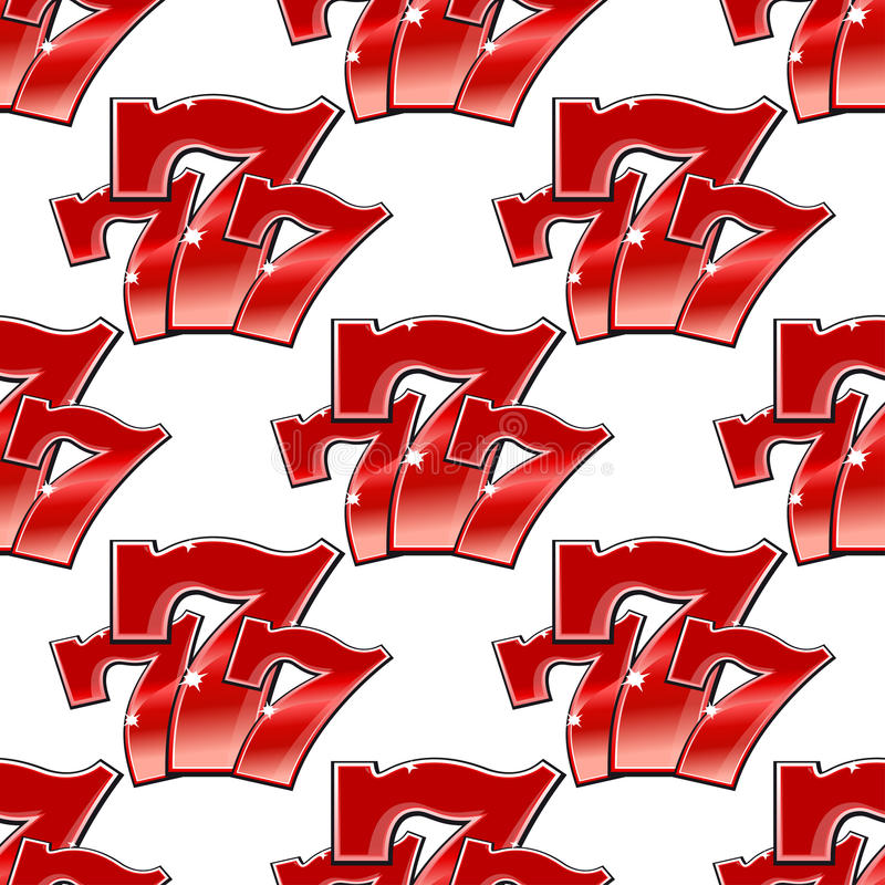 Triple Seven Background Seamless Pattern Stock Vector